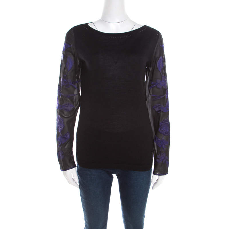 Escada Black Silk Wool Knit Floral Embroidered Long Sleeve Top S