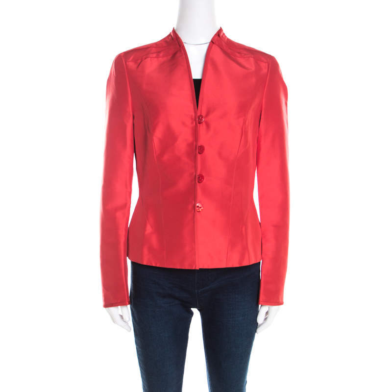 Escada Orange Silk Pleat Detail Tailored Button Front Blazer M