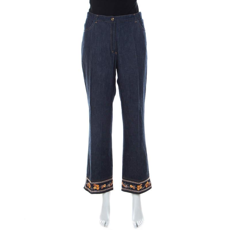 بنطلون جينز اسكادا مطرز مورد أرجل مستقيمة دنيم أزرق داكن XL
