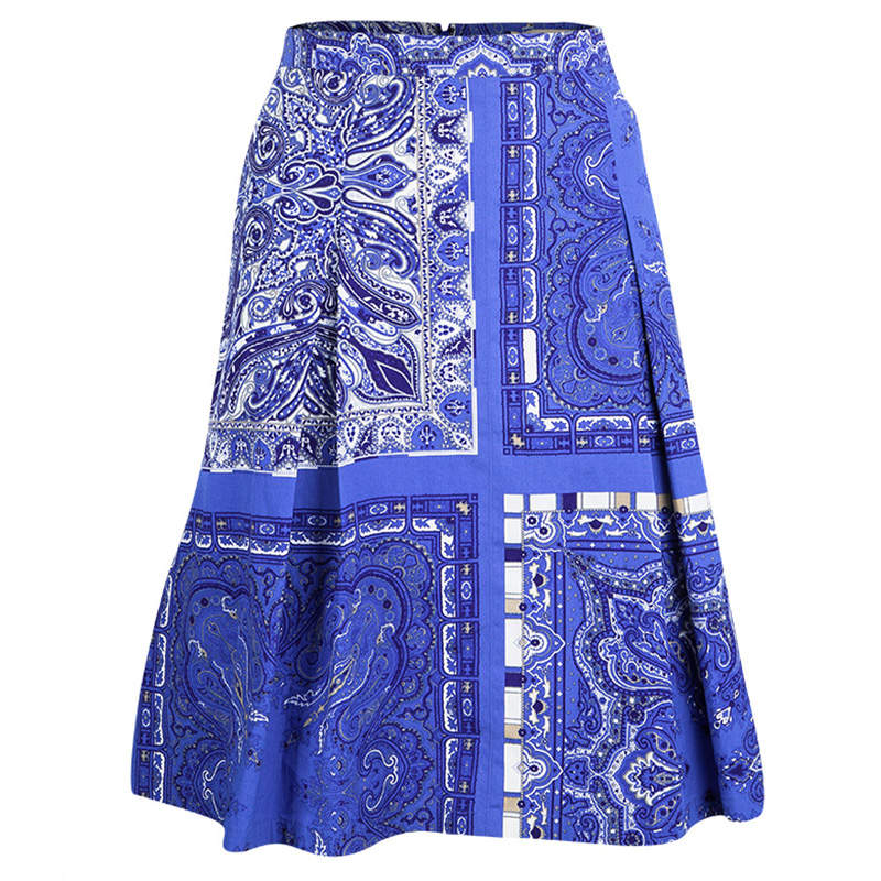 Etro Blue Paisley Printed Cotton Box Pleated Skirt M