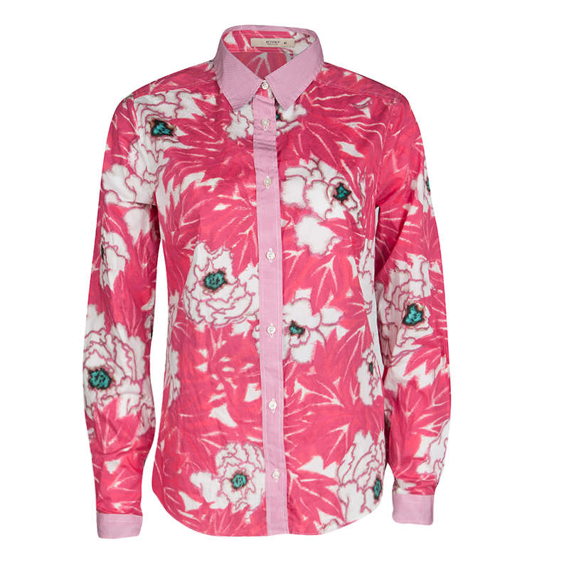 Etro Pink Floral Print Checked Collar and Cuff Detail Long Sleeve Button Front Shirt M