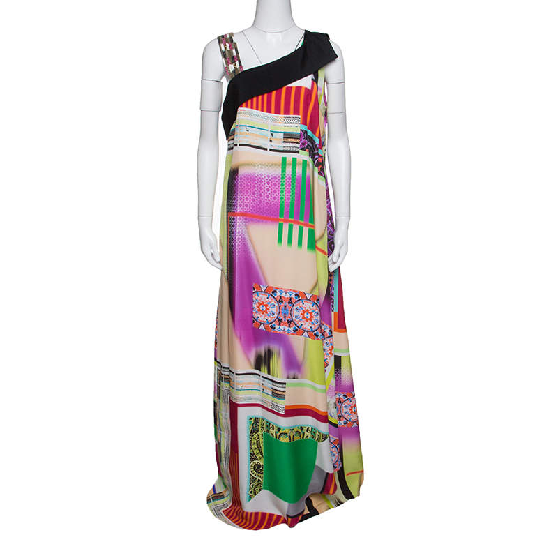 Etro Multicolor Printed Silk Embellished Strap Detail Sleeveless Maxi Dress L