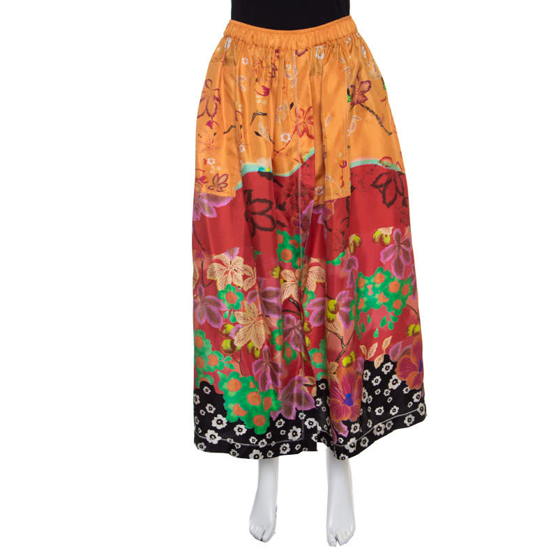 Etro Multicolor Floral Printed Silk Maxi Skirt M