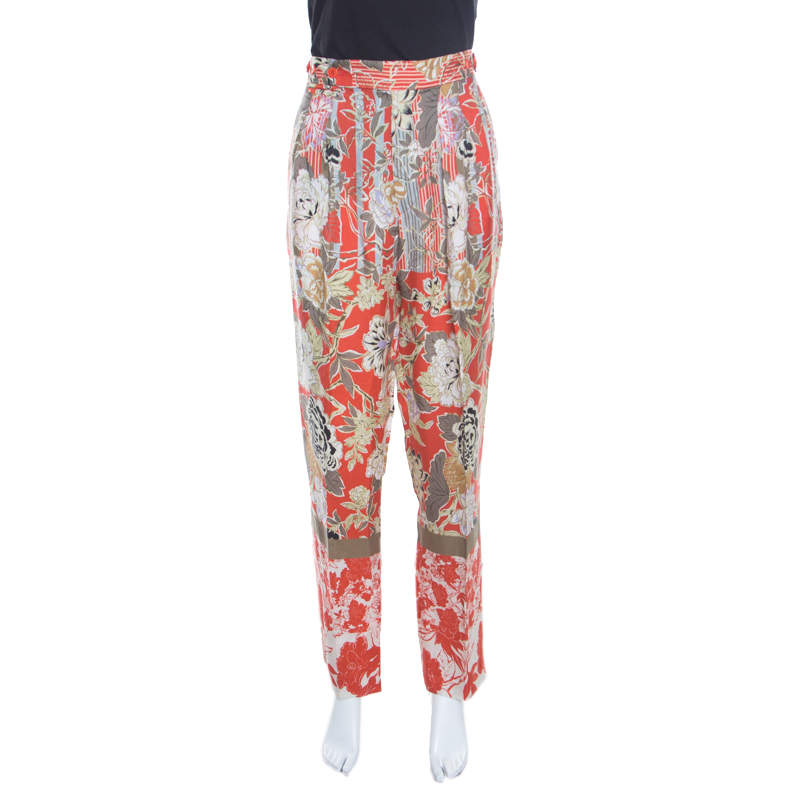 Etro Multicolor Floral Print High Waist Tapered Trousers M