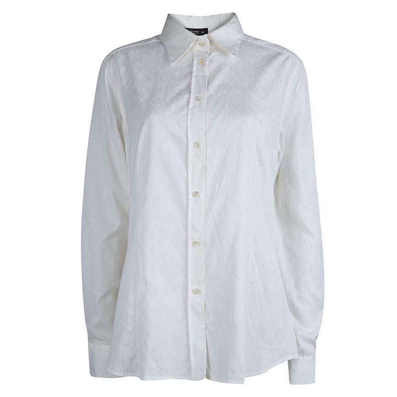 Etro White Paisley Pattern Jacquard Long Sleeve Button Front Shirt XL
