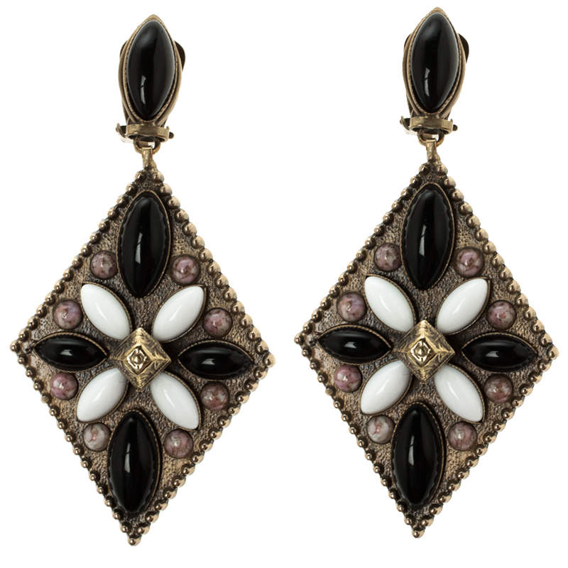 Etro Tibetan Multicolor Cabochon Gold Tone Rhombus Clip-on Dangle Earrings