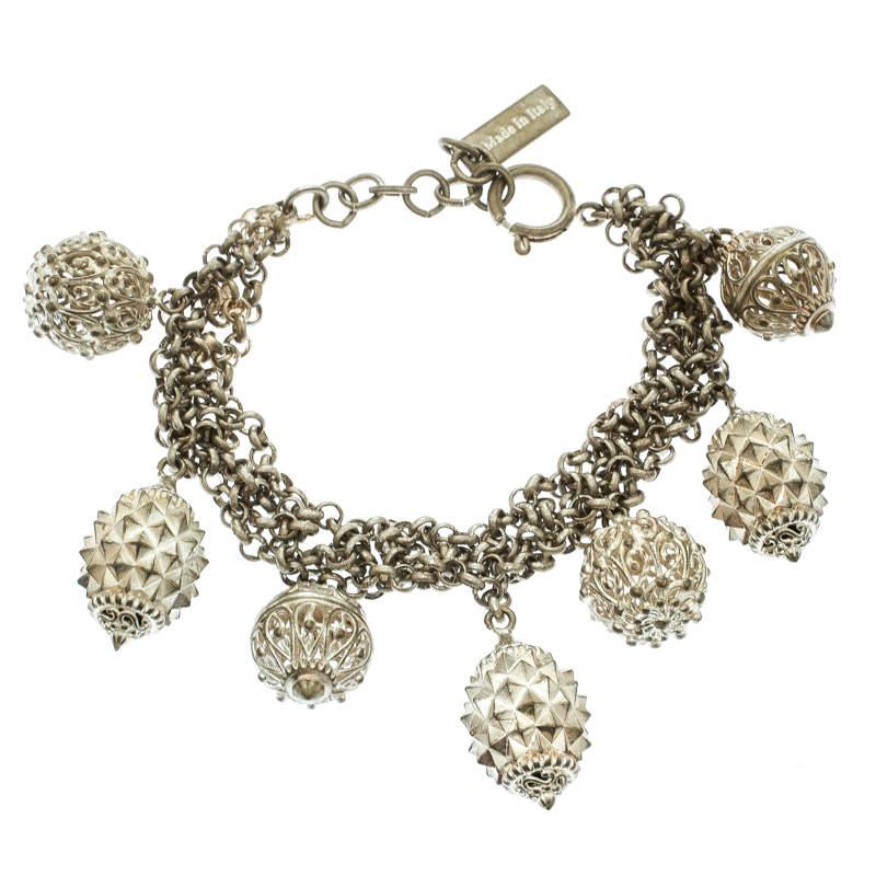 Etro Textured Charm Silver Tone Chain Link Bracelet