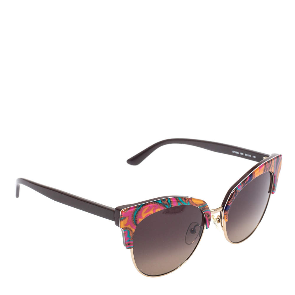 Etro Orange Paisley/ Brown Gradient ET108S Cat Eye Sunglasses