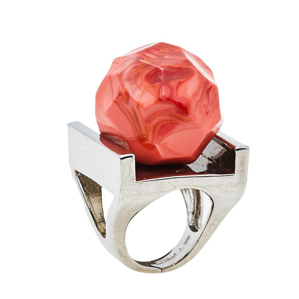 Etro Orange Faceted Bead Statement Ring Size EU 51