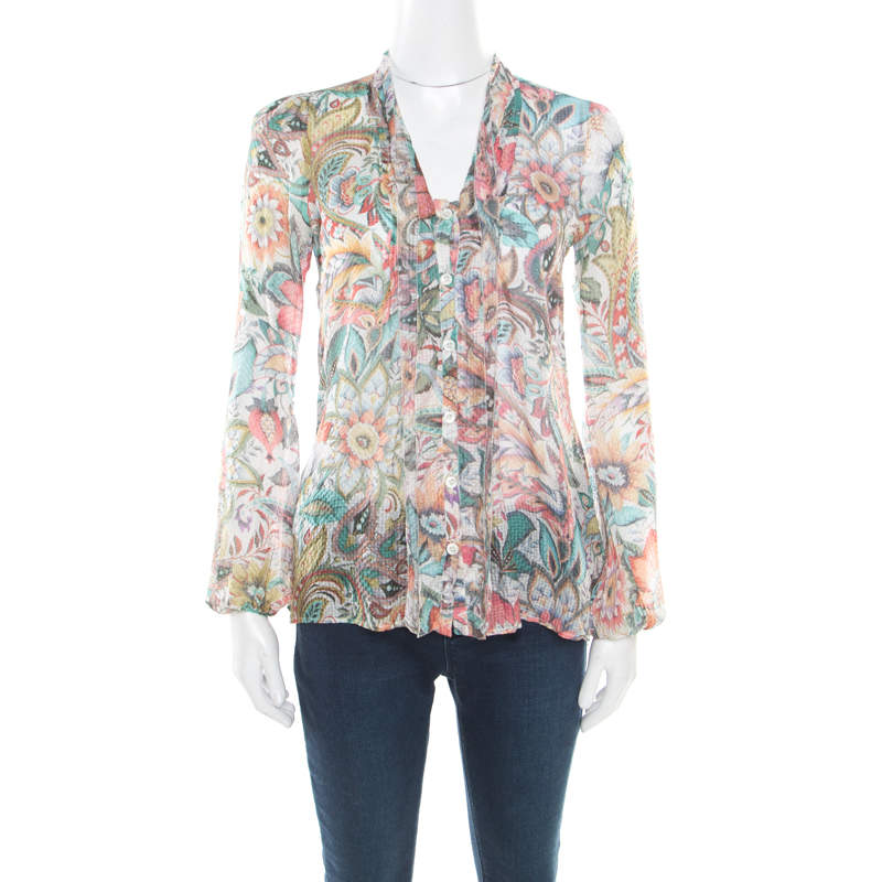 Etro Multicolor Floral Printed Silk Long Sleeve Blouse S