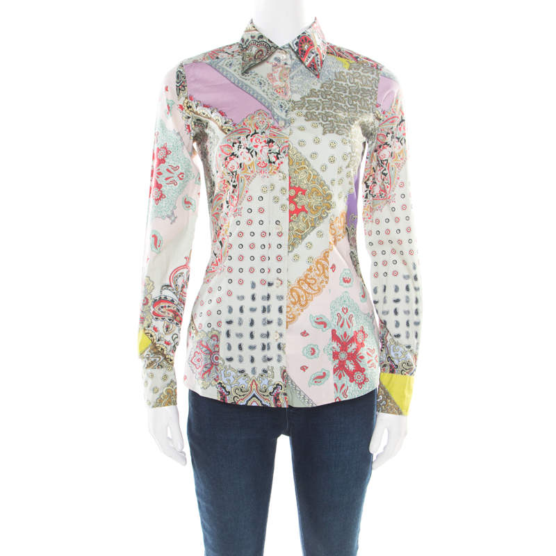 Etro Multicolor Printed Stretch Cotton Long Sleeve Button Front Shirt S