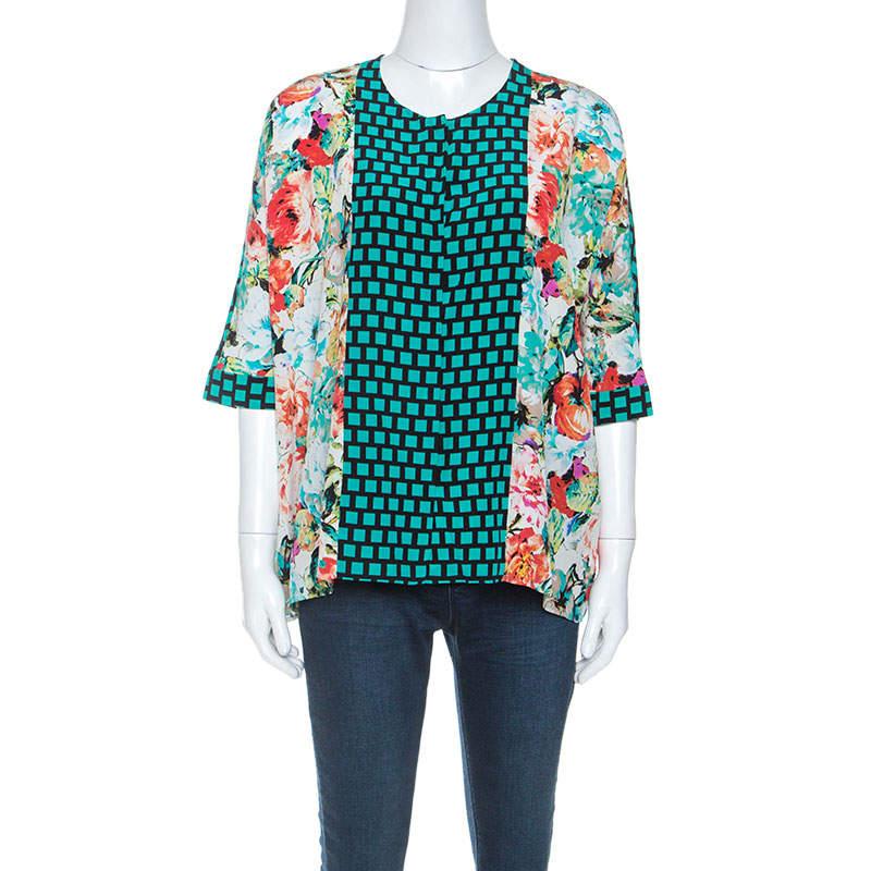 Etro Multicolor Mixed Print Silk Dolman Sleeve Blouse M