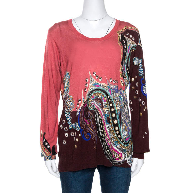 Etro Coral Pink Paisley Print Cashmere Silk Knit Top XL