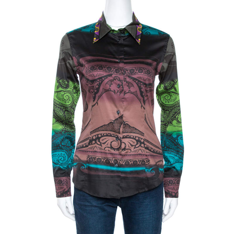 Etro Multicolor Gradient Printed Stretch Cotton Shirt S