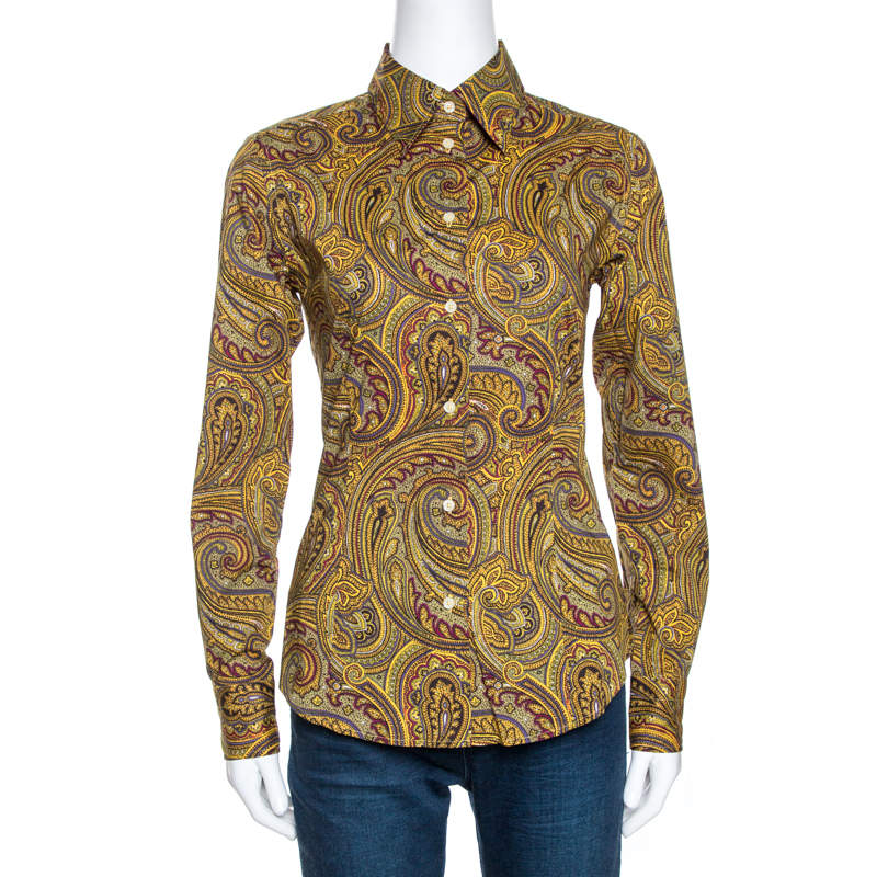 Etro Yellow Paisley Print Stretch Cotton Contrast Trim Shirt S