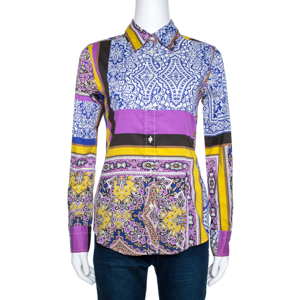 Etro Multicolor Printed Stretch Cotton Shirt S