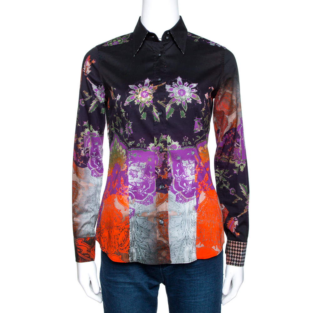 Etro Multicolor Abstract Floral Print Stretch Cotton Shirt S
