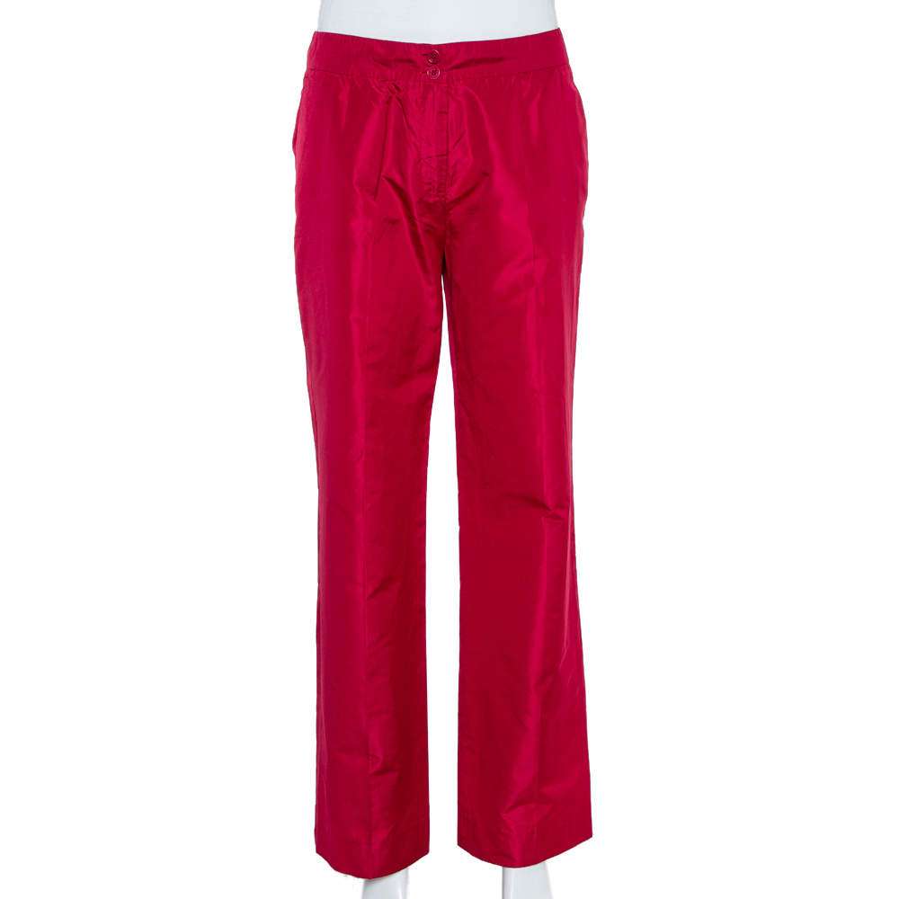 Etro Red Silk Straight Leg Trousers L