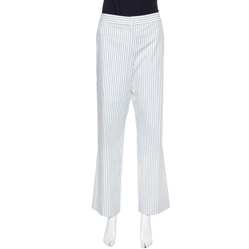 Etro White Pinstriped Cotton Straight Leg Pants L