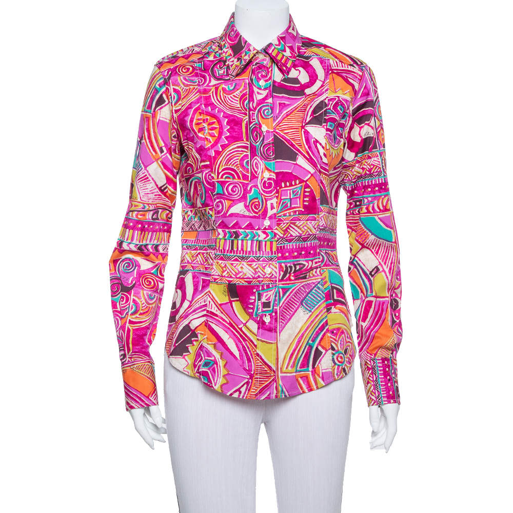 Etro Multicolor Abstract Tribal Printed Cotton Button Front Shirt M
