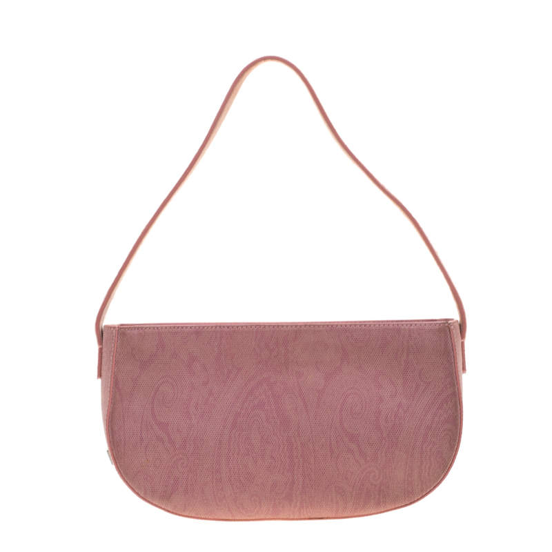 Etro Blush Pink Paisley Leather  and Calfhair Shoulder Bag