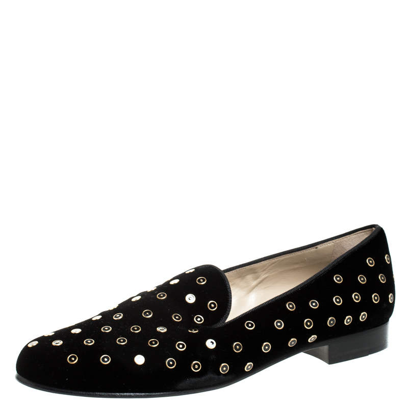 Etro Black Velvet Studded Smoking Slippers Size 40