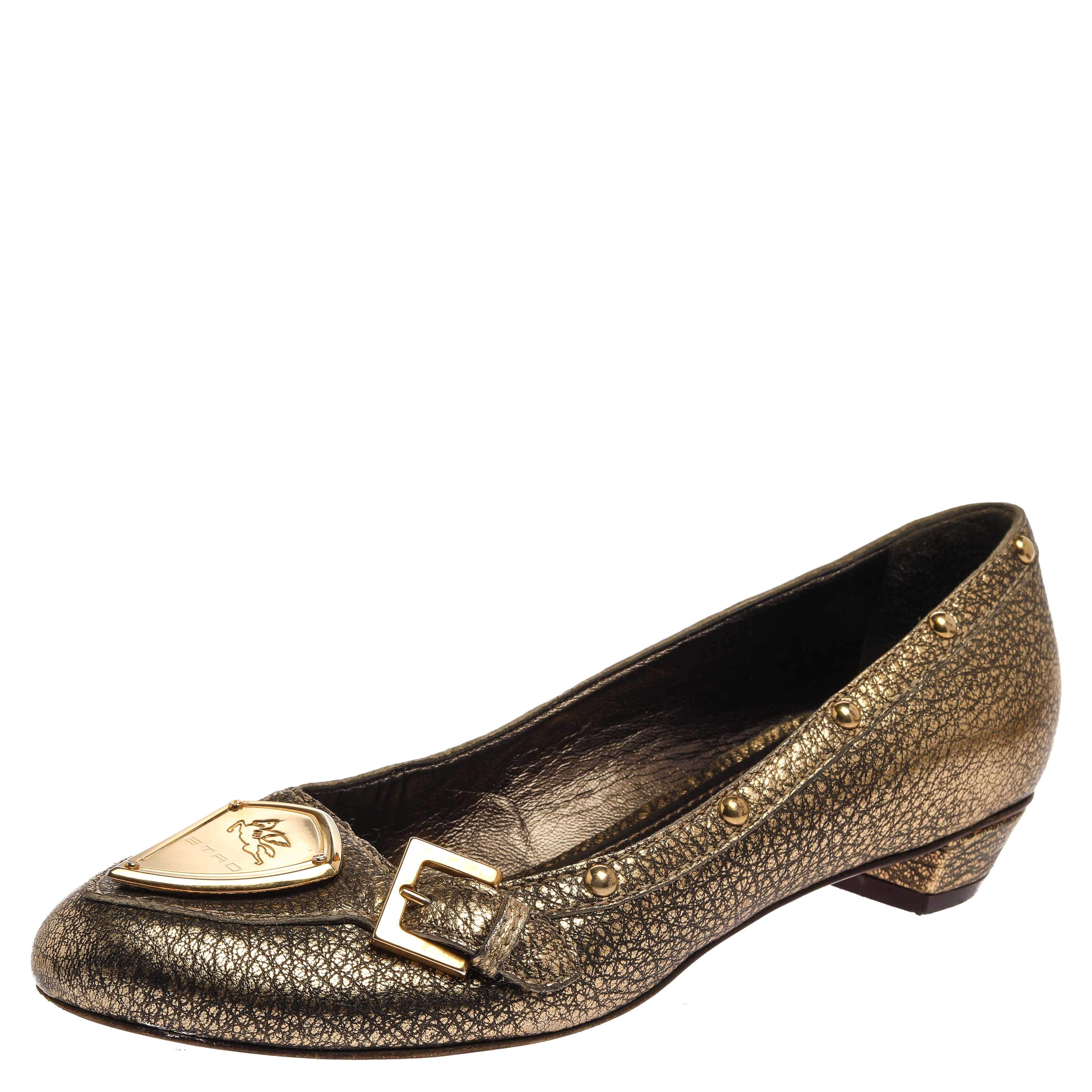 Etro Metallic Gold Leather Buckle Detail Studded Flats Size 38