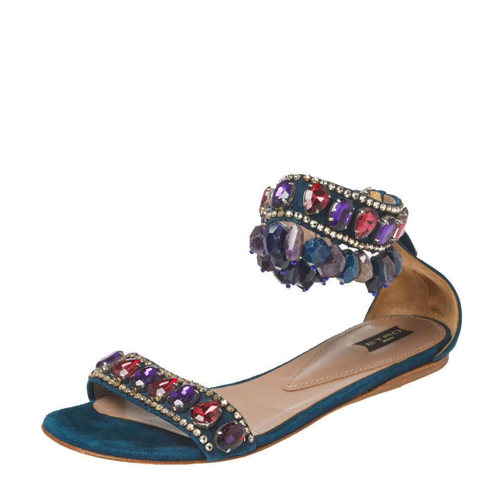 Etro Teal Suede Crystal Embellished Ankle Strap Flat Sandals Size 39