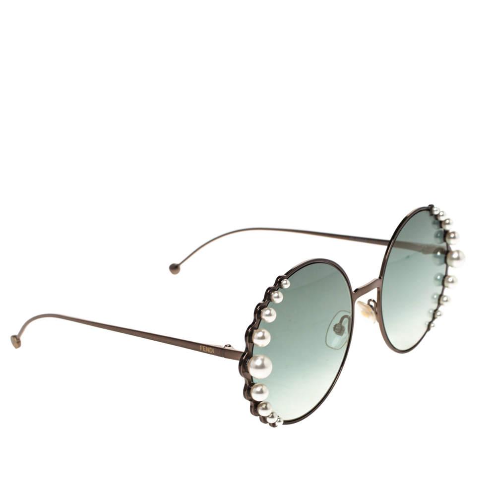 Fendi Gun Metal/Dark Green Gradient FF0295/S Pearl Round Sunglasses