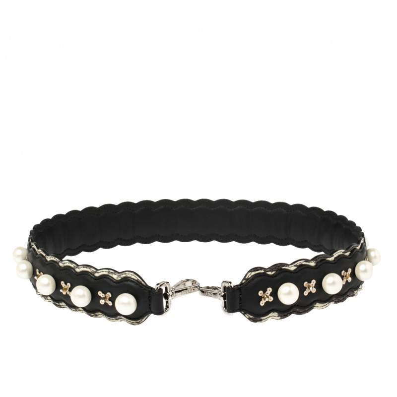 Fendi Black Leather Faux Pearl Embellished Strap You Bag Strap