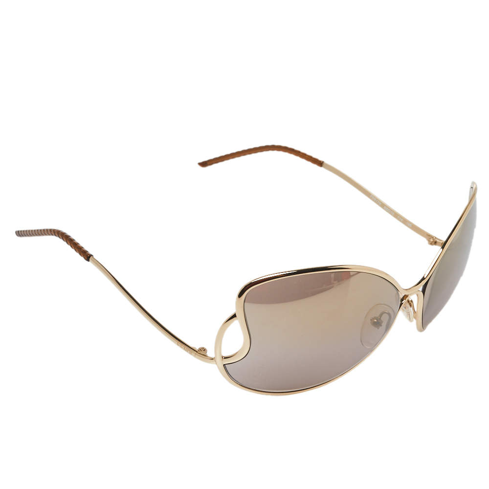 Fendi Pale Gold/Grey FS5178 Oversized Butterfly Sunglasses