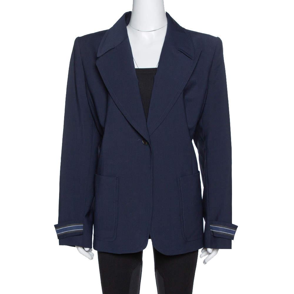 Fendi Navy Blue Wool Blend Striped Cuff Detail Tailored Blazer XL