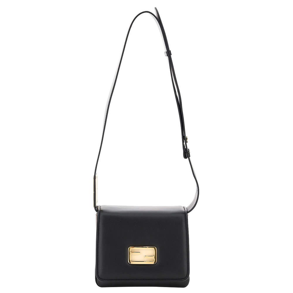 Fendi Black Leather ID Small Shoulder Bag