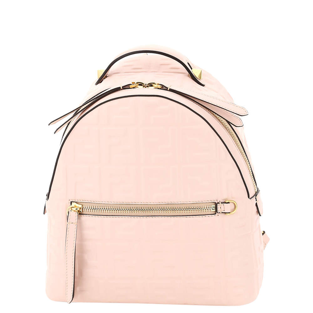 Fendi Nude/Rose Nappa Leather Ff Mini Backpack