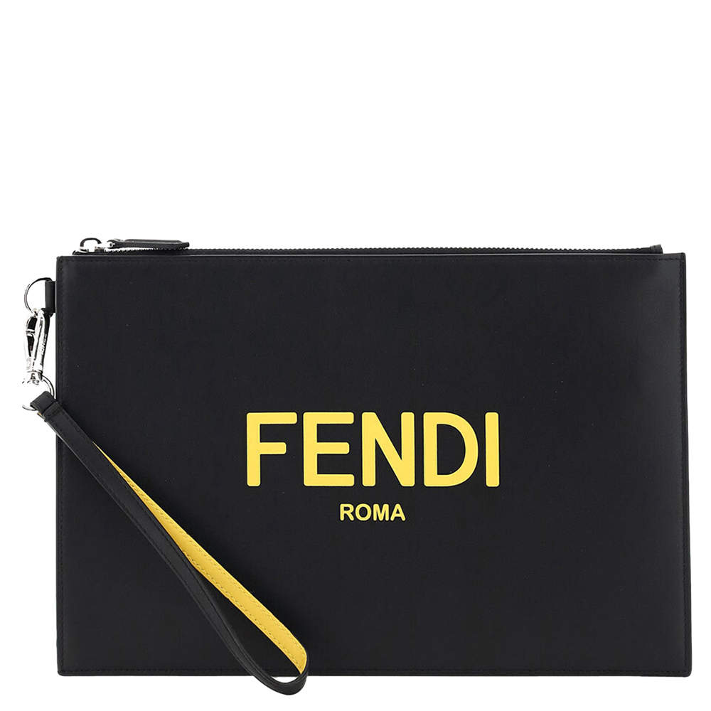Fendi Black/Yellow Leather Roma Clutch