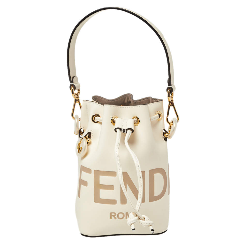 Fendi White Leather Mini Logo Mon Tresor Drawstring Bucket Bag