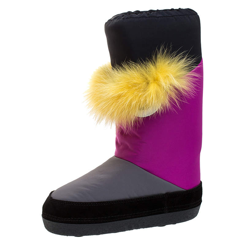 Fendi Multicolor Suede, Nylon And Fox Fur Monster Snow Boots Size 37