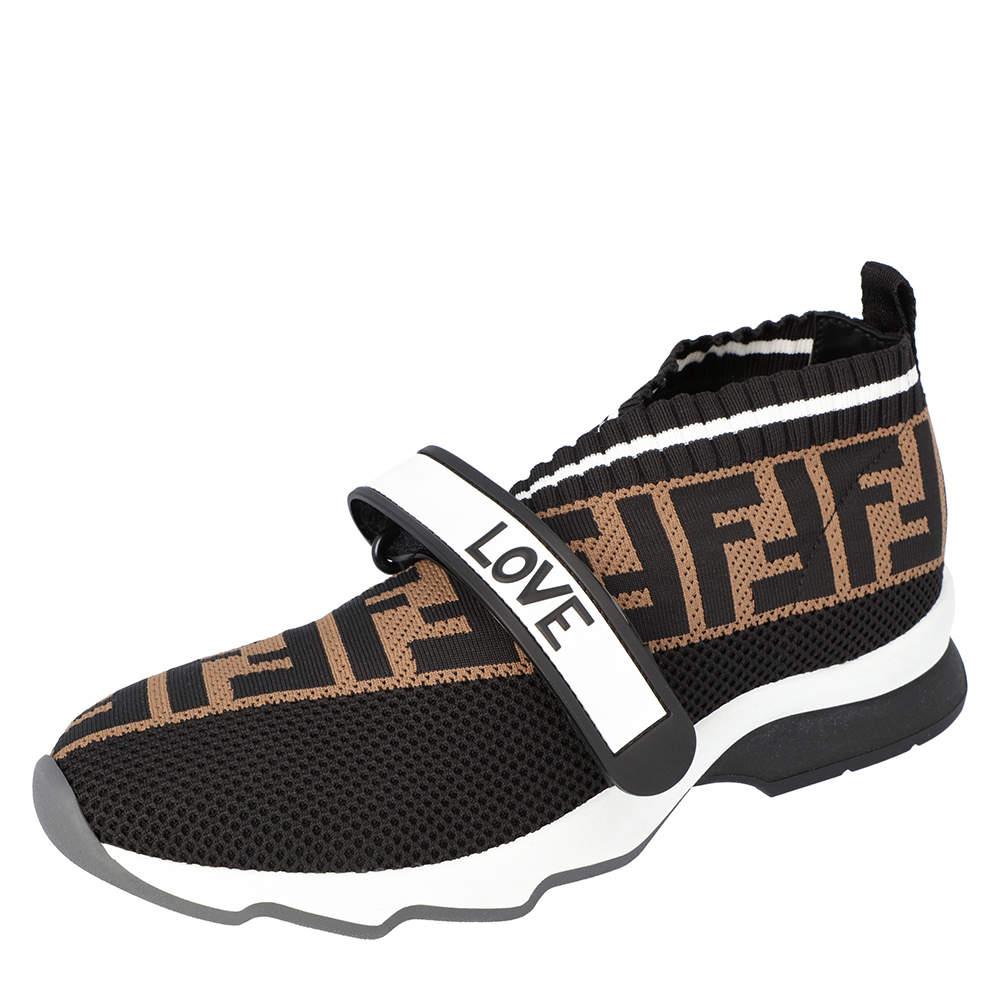 Fendi Brown Tobacco Rockoko knit Sneakers Size 37