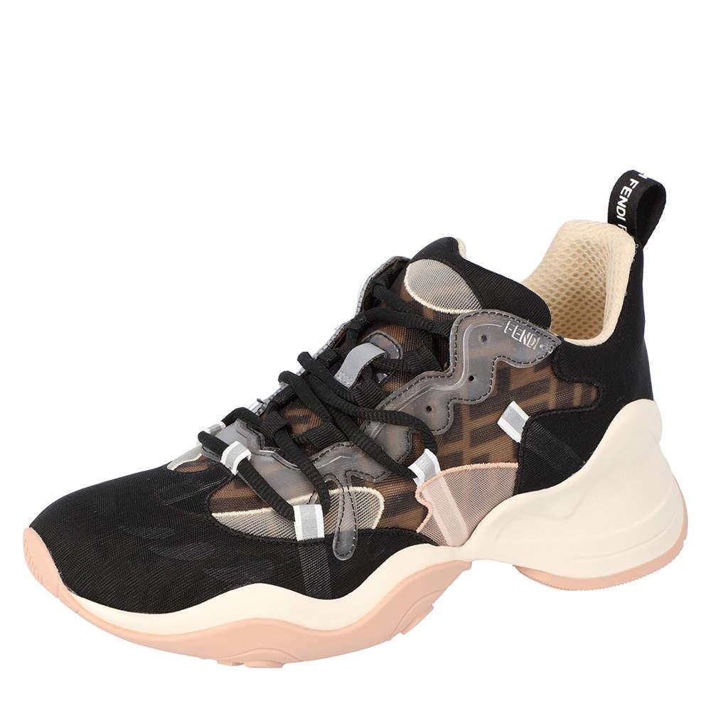 Fendi Brown Knit Low Top Sneakers (Left Shoe Size 37 / Right Shoe Size 36.5)