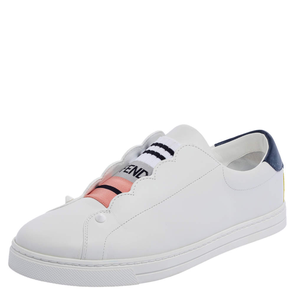 Fendi White Leather With Logo Knit Rockoko Scallop Detail Slip On Sneakers Size 40