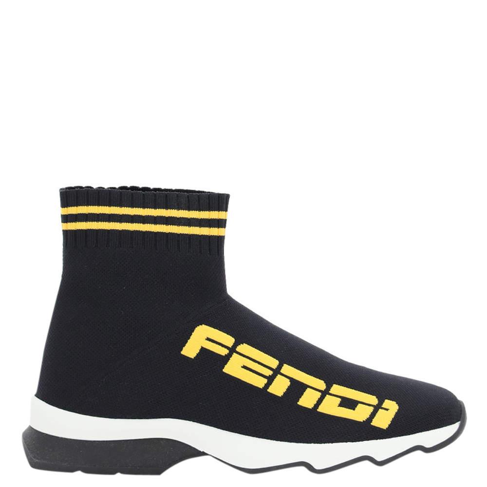 Fendi Black/Yellow knit Canvas Logo Sock Sneakers Size IT 36