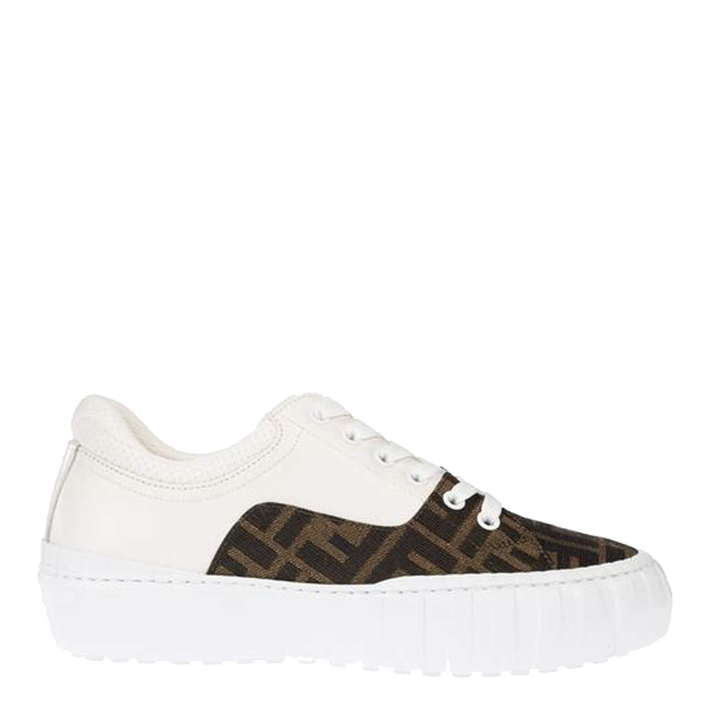 Fendi White/Brown Fabric Force Sneakers Size 39