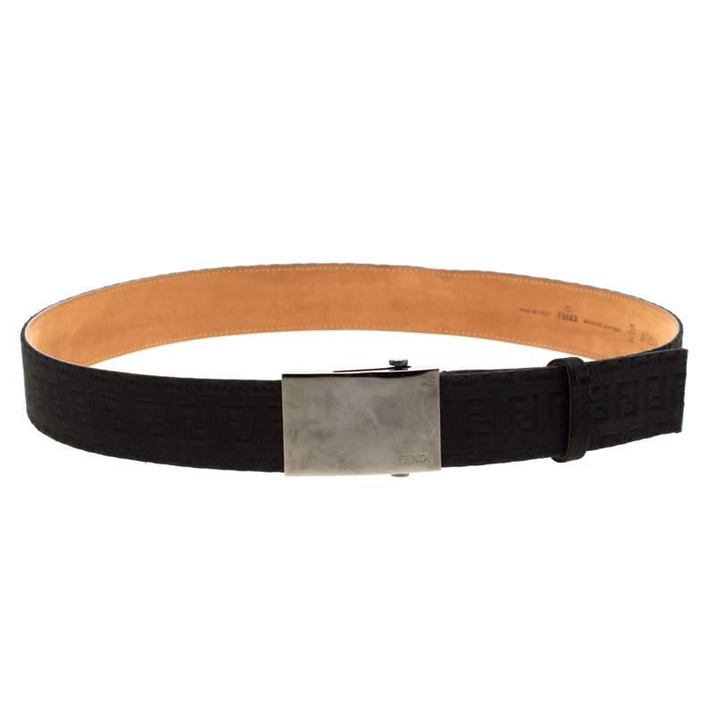Fendi Black Zucchino Canvas Belt Size 95cm