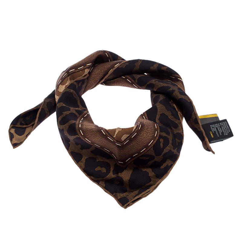 Fendi Brown Leopard Print Silk Square Scarf