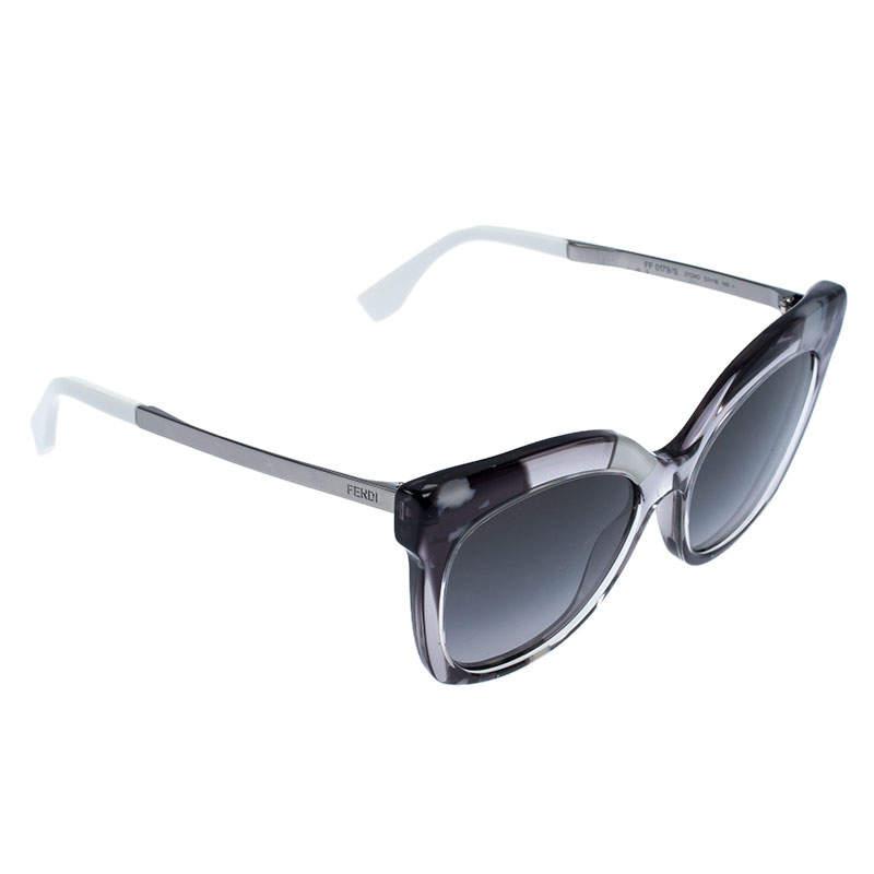 Fendi Patterned Grey/ Grey Gradient FF 0179/S Jungle Cat Eye Sunglasses