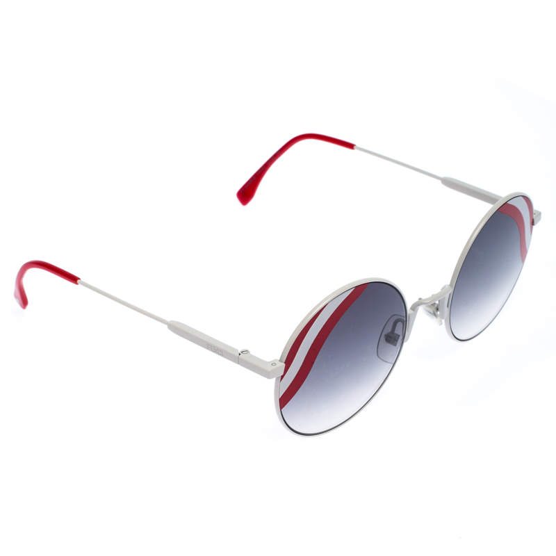 Fendi White/Red Gradient Wave Round Sunglasses