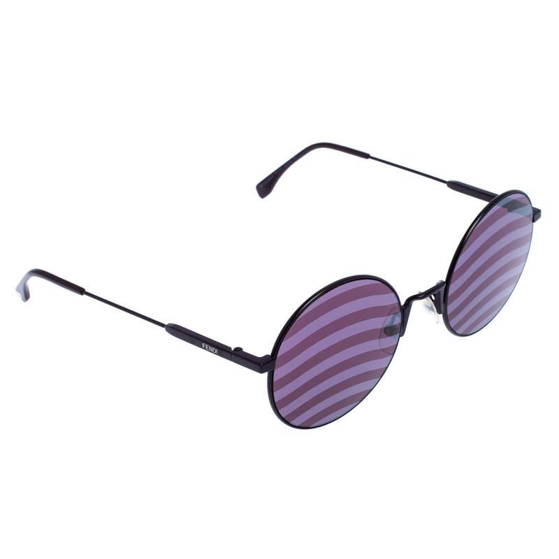 Fendi Purple Tinted Wave Round Sunglasses