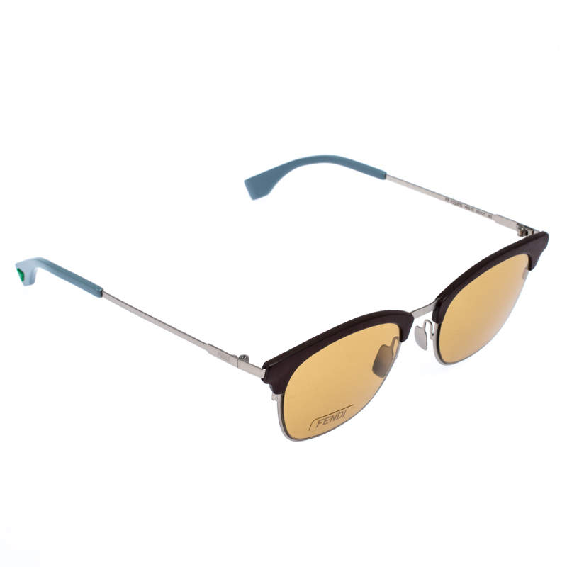 Fendi Yellow/Brown and Grey FF 0228/S Browline Sunglasses