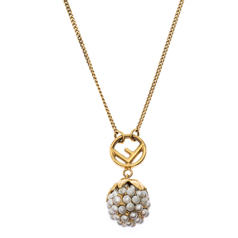 Fendi Faux Pearl Fruit Motif Gold Tone Pendant Necklace