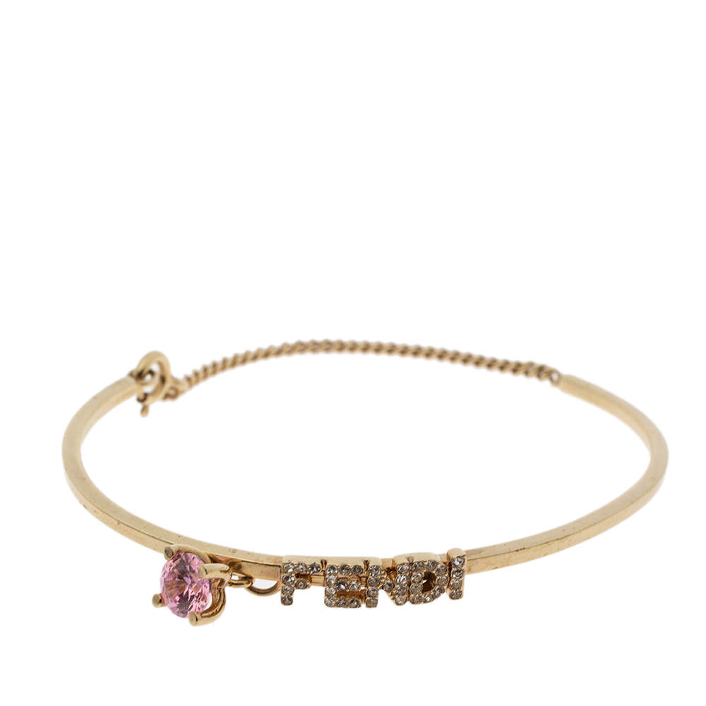 Fendi Gold Tone Crystal Embellished Logo Charm Bracelet L